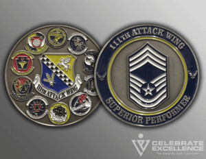 Celebrate Excellence 111th Attack Wing Challenge Coins | San Antonio Texas