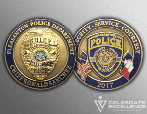 Celebrate Excellence Pleasanton Police Chief Sanchez Challenge Coins | San Antonio Texas