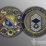 front and back of 111th attack wing coin